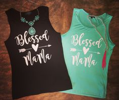 Super soft and stretchy blessed mama tank. True to size. Loose fit. Amie is wearing a medium. Made in the USA