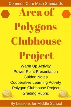 We created this Area of Polygons Project as a culminating activity for students to display their knowledge and skill level in regards to the 6th Grade Common Core Geometry Standards.Students will participate in a Review Lesson targeting the concepts and skills associated with Area of Polygons, and then they will utilize that knowledge in the Clubhouse ProjectIncluded:-Review Lesson on Area of Polygons-Area of Polygons ProjectIf this lesson and project interest you, we offer it as part of our…
