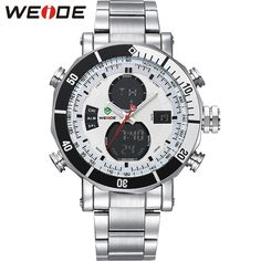 43.59$  Watch now - http://aiw7n.worlditems.win/all/product.php?id=32606467904 - WEIDE Watches Men Military Full Stainless Steel Quartz Wristwatch Waterproof Multi-function LCD Analog Digital Men's Clock Gifts