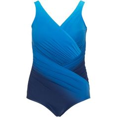 Miraclesuit Dark-Blue / Blue Plus Size Ombre look draped swimsuit (2 665 ZAR) ❤ liked on Polyvore featuring swimwear, one-piece swimsuits, plus size, slimming one piece swimsuit, ruched one piece swimsuit, shirred one piece swimsuit, swim suits and slimming swimsuits