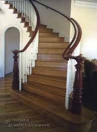 Craftsman and Victorian Stairs Staircase Handrail, Wooden Staircases, Curved Staircase, Wooden Stairs, Stair Railing, Staircase Design, Victorian Stairs, Victorian Terrace, Victorian Hall