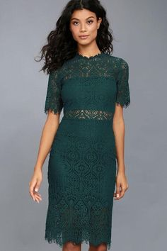 0ad671ad #Lulus - #Lulus Remarkable Forest Green Lace Dress - AdoreWe.com Green  Wedding