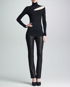 Shoulder Cutout Turtleneck Top & Seamed Skinny Pants by Donna Karan at Neiman Marcus.
