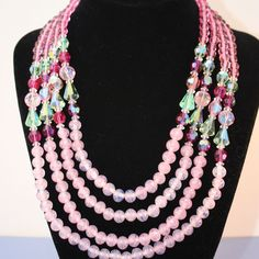 Vintage Vendome 4 Strand Pink Crystal & Glass Bead Necklace! #Vendome