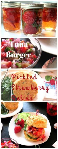Tuna Burger with Pickled Strawberry Relish part of a #SundaySupper #FLStrawberry preserving @Flastrawberries event!