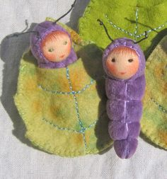 Baby Caterpillar in a leaf bed by zuzuspetal on Etsy, $19.00