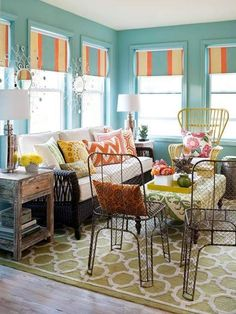 Furniture , Stylish Sunroom Furniture : Sunroom Furniture With Metal Chairs And Wicker Couch And Chair And Wooden Coffee Table And Striped Blinds