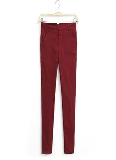High Waist #Elastic Pencil Pants, wine red & dark green available.