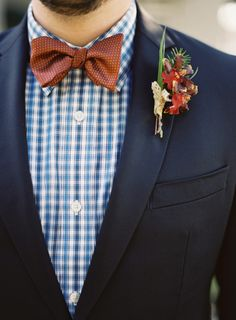 Groom style, bowtie and gingham shirt.