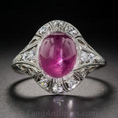 No-Heat Burmese Star Ruby and Diamond Art Deco Ring