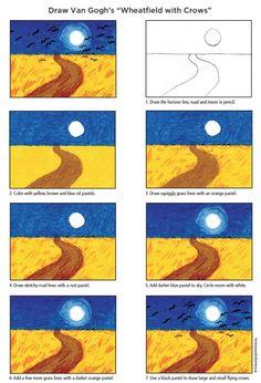 Van Gogh Wheat FIeld · Art Projects for Kids Art Projects for Kids - Van Gogh's Wheat Field with Crows diagram using oil pastels Art History Projects For Kids, Fall Art Projects, School Art Projects, Vincent Van Gogh, Van Gogh For Kids, Art For Kids, Art Children, Art Van, Van Gogh Arte