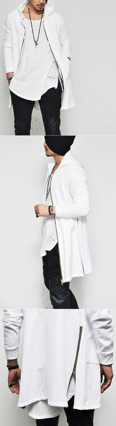 Mens Gold Side Zip Designer Long Hood By Guylook.com