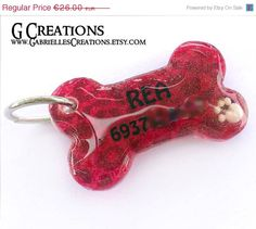 ON SALE Red Bone Dog Tag with Leopard print by GabriellesCreations