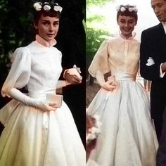 Audrey Hepburn wedding dress September Designed by Pierre Balmain ? It suited her so well and was so very chic 1960s Wedding Dresses, Famous Wedding Dresses, Vintage Dresses, Wedding Gowns, Audrey Hepburn Wedding Dress, Audrey Hepburn Photos, Glamour, Look Blazer, Old Hollywood Glam