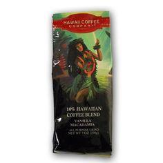 Hawaiian Blend Vanilla Macadamia All Purpose Ground Coffee Hawaiian Coffee, Ground Coffee, Blended Coffee, Purpose, Vanilla