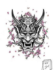 Japan Tattoo Design, Japanese Tattoo Designs, Tattoo Design Drawings, Tattoo Sleeve Designs, Sleeve Tattoos, Samurai Mask Tattoo, Oni Mask Tattoo, Hannya Maske Tattoo, Gott Tattoos