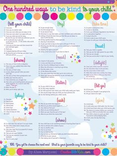 Poster 100 Ways to Be Kind to Your Child 18x24 by CreativeWithKids, $19.95