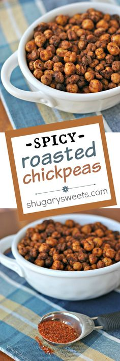 Crunchy, taco seasoned Spicy Roasted Chickpeas make a great snack idea ...