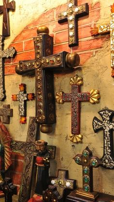A Fine Collection of Rustic, Southwest, Hacienda, One of a Kind Furniture and Accessories Crosses Decor, Wall Crosses, Wooden Crosses, Mexican Folk Art, Mexican Style, Religious Icons, Religious Art, Image Jesus, Old Rugged Cross