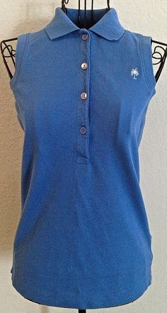 Lilly Pulitzer Polo Shirt Top Blouse Chic Fit Cotton Blend Pique Blue Size XS #LillyPulitzer #Top