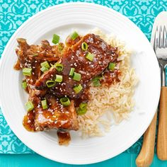My husband adores this recipe for Asian ribs, and I love how good it makes the house smell! The mild, tangy, salty-sweet sauce with fresh ginger and garlic is delicious with rice or noodles. Slow Cooker Ribs Recipe, Slow Cooker Recipes, Cooking Recipes, Crockpot Ideas, Slow Cooking, Cooking Tips, Rib Recipes, Asian Recipes, Healthy Recipes