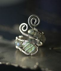 sterling wire ring with beaded wire wrapping. doing this with my sea glass from amalfi coast