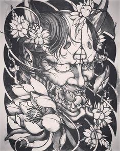 Hanya and lotus sketch Hannya Mask Tattoo, Hanya Tattoo, Demon Tattoo, Samurai Tattoo, Yakuza Tattoo, Oni Mask, Japanese Mask Tattoo, Japanese Tattoo Symbols, Japanese Tattoo Designs