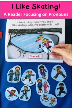 $ Winter Pronoun practice with I Like Skating. Interactive book and printable reader to work on pronouns, who questions directions and more!