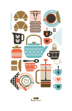 Color Inspiration Daily: 12 - Coffee & Tea Art Print by Bunnypumpkin Graphic Design Illustration, Illustration Art, Coffee Illustration, Modern Graphic Design, Tee Kunst, Tea Art, Kitchen Art, Kitchen Prints, Kitchen Colors