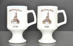 "Walt Disney World ""Mom & Dad"" White Milk Glass Footed Mugs Vintage 1970's #waltdisneyworld #disneyland #mickeymouse #milkglass #vintagedisney"