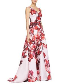 B2UFA Carolina Herrera Sleeveless Floral-Print V-Neck Gown