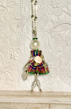French doll pendant doll necklace St. Patty's Day Irish Step Dancer