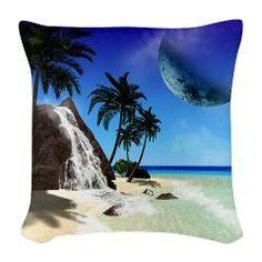 #Island with #waterfall, Burlap Throw  #Pillow