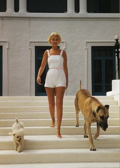 C.Z. Guest at home at Villa Artemis in Palm Beach by Slim Aarons, circa 1955. 50s summer style.