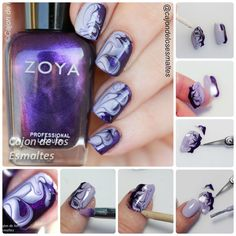 Step by step Tutorial - Dry marble  nail art smoky purple nails
