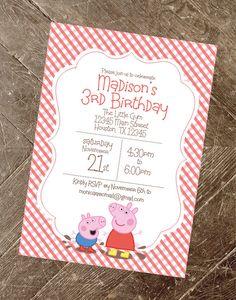 Peppa Pig Invitation Peppa Pig Party Peppa por CharlesAlexDesign