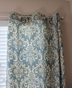 Pair of Designer Custom Curtain Panels 50 x 96 Blue Cream Damask with Grommets.