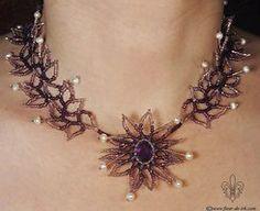 Amethyst flower necklace N628 by Fleur-de-Irk