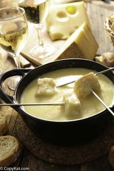 Enjoy the Melting Pot Swiss Fondue when you make it at home.   #fondue #newyears #cheese #appletizer
