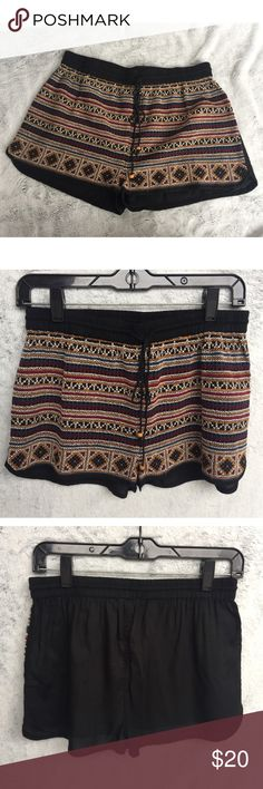 -new- Black Embroidered Shorts Super chic drawstring shorts with elastic waist. Multicolored embroidered pattern on the front.   ✔️If you'd like to MAKE AN OFFER please do so through the offer button ONLY. I won't negotiate prices in the comments.  ✔️All sale items, items $15 and under, & clearance items are firm unless BUNDLED.  ❌No trades, PayPal, Holds Instagram: @lovelionessie Shorts