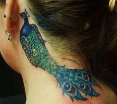 Peacock tattoo designs for Girls neck behind ear