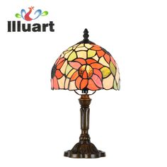 Tiffany Table Lamp Country Sun flower Stained Glass Colorful Glass Bedside Lamp Dinning Nordic Table Light E27 110-240V