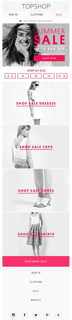 email with shop by size filtered journey