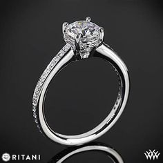 #Whiteflash  This Diamond Engagement Ring is from the Ritani Classic Collection.  It features a 4 prong head that holds the round diamond center of your choice and micropave set Round Brilliant Diamond Melee (0.20ctw