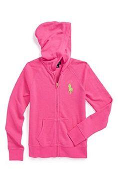 Polo Ralph Lauren 'Big Pony' Fleece Hoodie Toddler Girl's 3/3T