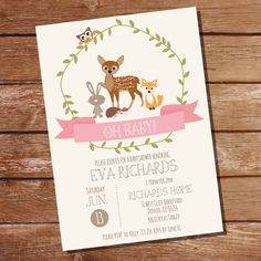 Woodland Baby Shower Invitation for a Girl - Woodland Baby Shower - Instant Download and Edit at home with Adobe Reader by SunshineParties on Etsy https://www.etsy.com/listing/234849521/woodland-baby-shower-invitation-for-a