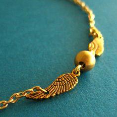 Harry Potter Snitch Necklace Tiny Golden Snitch by SpiffingJewelry, $18.00