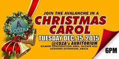 """""""Party in the Manger"""" with The Avalanche today by 6pm at COZA, Guzape Hills, Asokoro Extension, Abuja.  You can join the party via www.cozanigeria.tv.  We celebrate you!  #ChristmasCarol #ThanksLiving"""