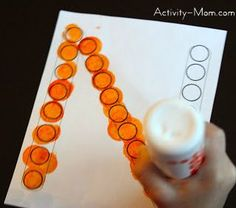 Dot-a-Dot Letters. Use blotter or stickers for road/plane trips to keep little ones occupied Preschool Lessons, Preschool Kindergarten, Preschool Learning, Preschool Crafts, Kids Learning, Alphabet Crafts, Letter A Crafts, Alphabet Activities, Literacy Activities