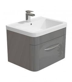Lux 600mm Wall Hung Basin Unit Grey